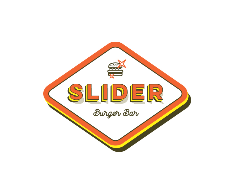 Slider, Burger Bar, Brand identity, print, packaging, Branding for a local burger establishment. Logo was designed to refer to the classic American diner with a contemporary look and feel, and visual language brings classic comics art and typography to the brand's experience. Design Shop by Dan Michman, Graphic designer, branding, brochures, posters, catalogs, books, corporate identity, Internet and web design. עיצוב גרפי, מיתוג, פרינט, מדיה דיגיטלית, אריזות, עיצוב לוגו, קטלוגים, ספרים