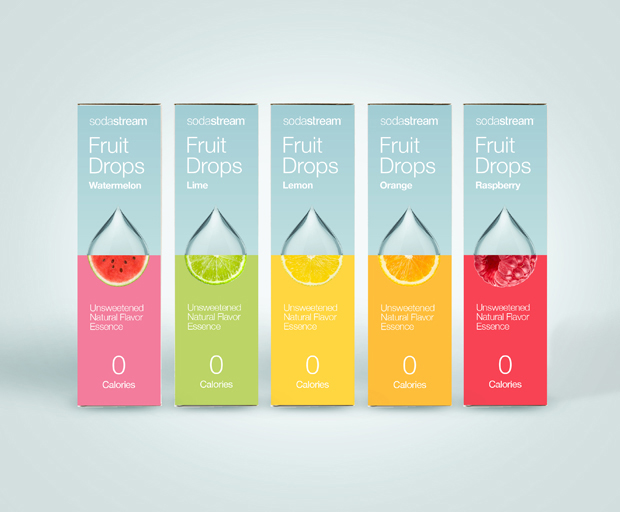 Sodastream, Soda Drinks, Brand identity, digital & packaging, Brand identity & visual language for Sodastream fruit drops. Creative concept development was based on a strong 'half fruit half drop' visual, supported by a dynamic split screen grid, that can contain the visual concept in changing and diverse compositions. Design Shop by Dan Michman, Graphic designer, branding, brochures, posters, catalogs, books, corporate identity, Internet and web design. עיצוב גרפי, מיתוג, פרינט, מדיה דיגיטלית, אריזות, עיצוב לוגו, קטלוגים, ספרים