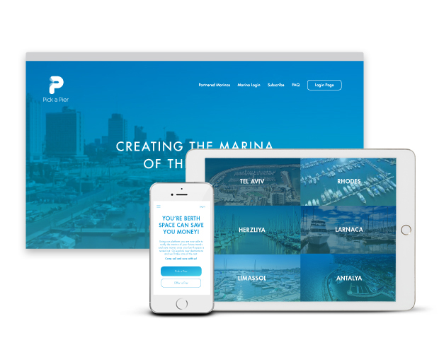 Pick a Pier, Start Up Company, Brand identity, App & website, print Branding for start-up company, specializing in berth management solutions for marinas. Design Shop by Dan Michman, Graphic designer, branding, brochures, posters, catalogs, books, corporate identity, Internet and web design. עיצוב גרפי, מיתוג, פרינט, מדיה דיגיטלית, אריזות, עיצוב לוגו, קטלוגים, ספרים