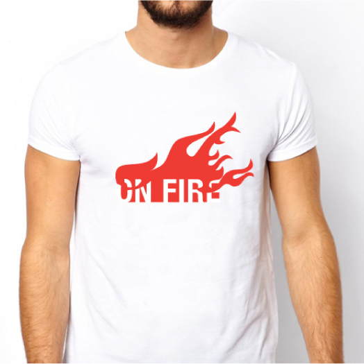 On fire T-shirt / A limited edition of On fire T-shirts. Printed on premium quality, super-soft, baby-knit t-shirts that looks great on both men and women. Design Shop by Dan Michman, Graphic designer, branding, brochures, posters, catalogs, books, corporate identity, Internet and web design. עיצוב גרפי, מיתוג, פרינט, מדיה דיגיטלית, אריזות, עיצוב לוגו, קטלוגים, ספרים