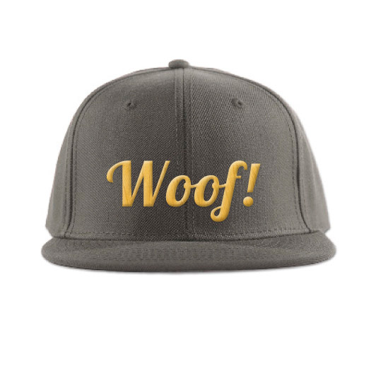 Woof! embroidered cap / A limited edition of Woof! embroidered caps. Made on a premium quality wool blend high profile hat, 15% Wool & 85% Acrylic with 3D puff embroidery. Design Shop by Dan Michman, Graphic designer, branding, brochures, posters, catalogs, books, corporate identity, Internet and web design. עיצוב גרפי, מיתוג, פרינט, מדיה דיגיטלית, אריזות, עיצוב לוגו, קטלוגים, ספרים