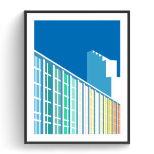 Graphic design for a poster and vector illustration print of Tel Aviv Dan hotel on Frishman beach. Designed as a series of graphic design illustrations posters and prints of abstract Tel Aviv landmarks