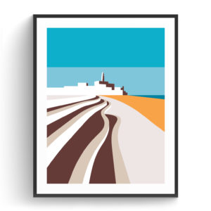Graphic design for a poster and vector illustration print of Tel Aviv Promenade. Designed as a series of graphic design illustrations posters and prints of abstract Tel Aviv landmarks