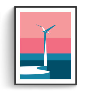 Graphic design for a poster and vector illustration print of seagull monument on Hilton beach in Tel Aviv. Designed as a series of graphic design illustrations posters and prints of abstract Tel Aviv landmarks