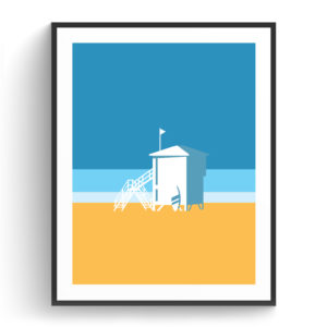 Graphic design for a poster and vector illustration print of Tel Aviv lifeguard shed. Designed as a series of graphic design illustrations posters and prints of abstract Tel Aviv landmarks