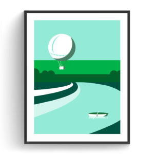 Graphic design for a poster and vector illustration print of Tel Aviv Yarkon park. Designed as a series of graphic design illustrations posters and prints of abstract Tel Aviv landmarks