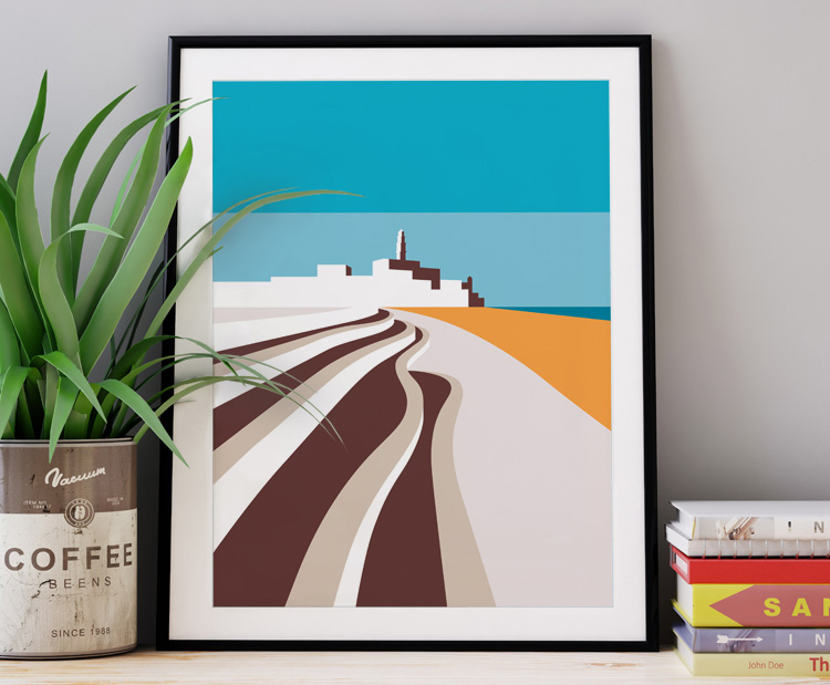 Graphic design for a poster and vector illustration print of Tel Aviv beach promenade and jaffa. Designed as a series of graphic design illustrations posters and prints of abstract Tel Aviv landmarks