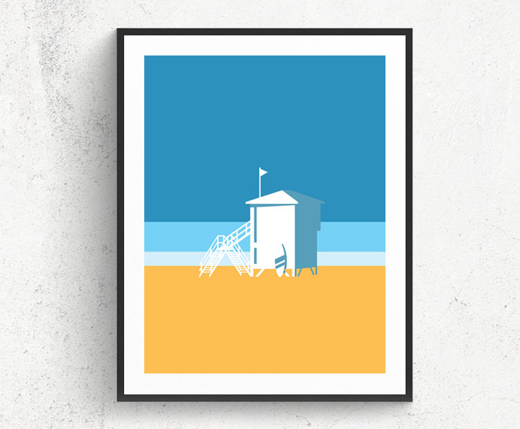 Graphic design for a poster and vector illustration print of Tel Aviv beach iconic lifeguard shed. Designed as a series of graphic design illustrations posters and prints of abstract Tel Aviv landmarks