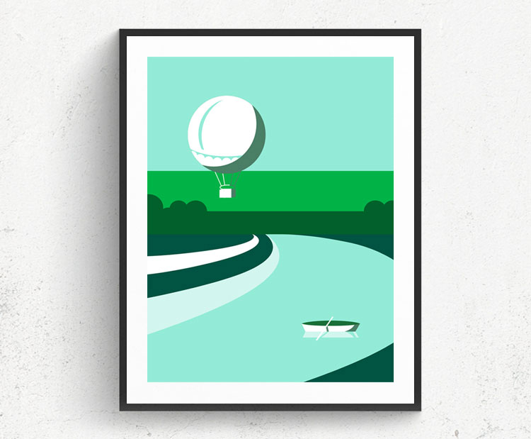 Graphic design for a poster and vector illustration print of Tel Aviv Yarkon park. Designed as a series of graphic design illustrations posters and prints of abstract Tel Aviv landmarks