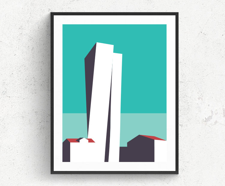 Graphic design for a poster and vector illustration print of Tel Aviv Sarona. Designed as a series of graphic design illustrations posters and prints of abstract Tel Aviv landmarks