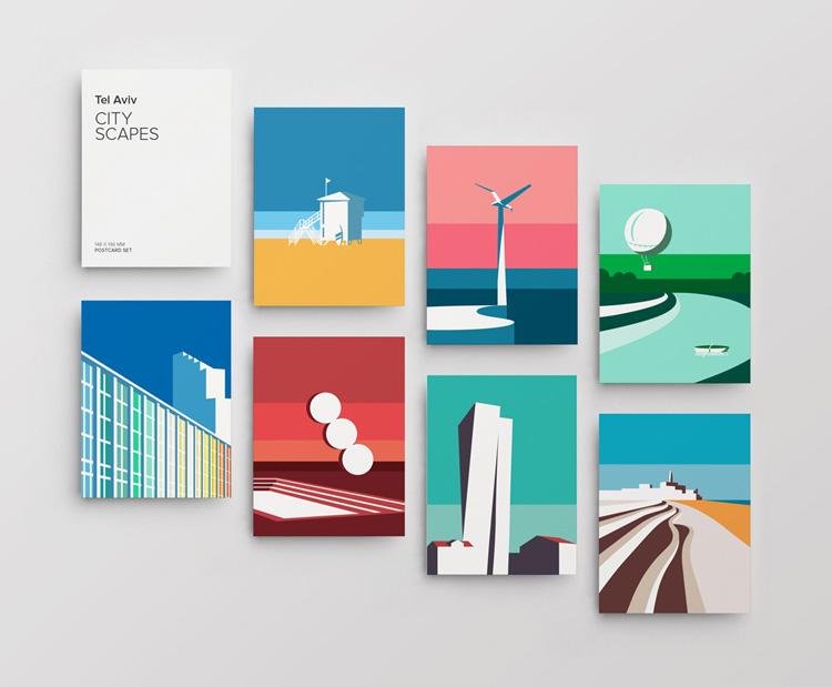 Graphic design for postcards set of vector illustration prints of Tel Aviv landscapes. Designed as a series of graphic design illustrations posters and prints of abstract Tel Aviv landmarks