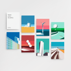 Graphic design for postcards set of vector illustration prints of Tel Aviv landscapes. Designed as a series of graphic design illustrations posters and prints of abstract Tel Aviv landmarks